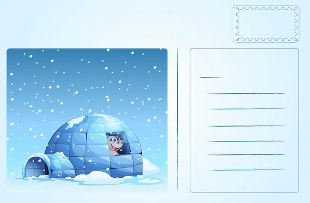 Igloo postcard Free Vector