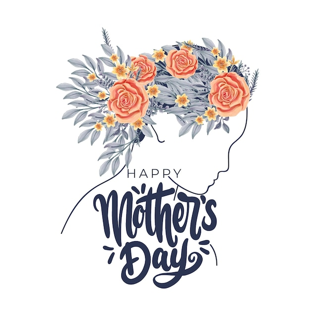 Ihappy mother's day greetings with woman profile Free Vector