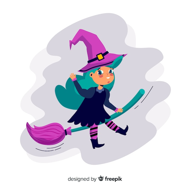 Iillustration of halloween witch flying on broom Free Vector