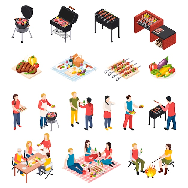 Iisometic bbq grill picnic icon set with peoples dining table picnic and grill equipment Free Vector