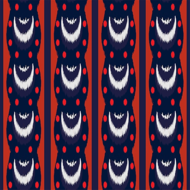 Ikat seamless pattern design for fabric. Premium Vector