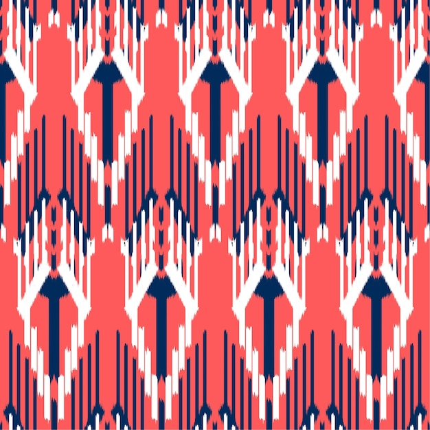 Ikat seamless pattern design. Premium Vector