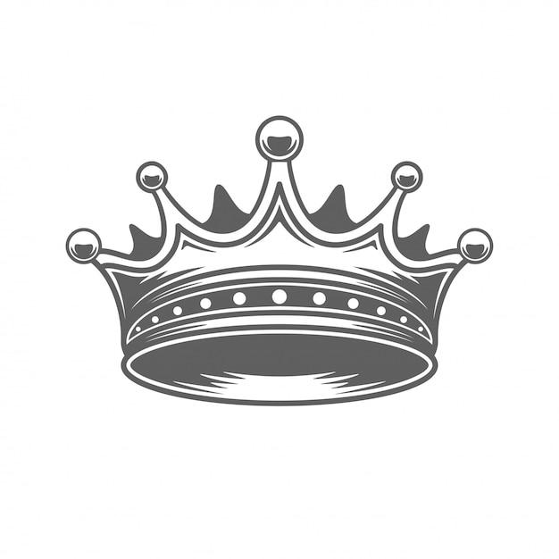 Ilhouette королевской короны короля изолированное на белой предпосылке. Premium векторы