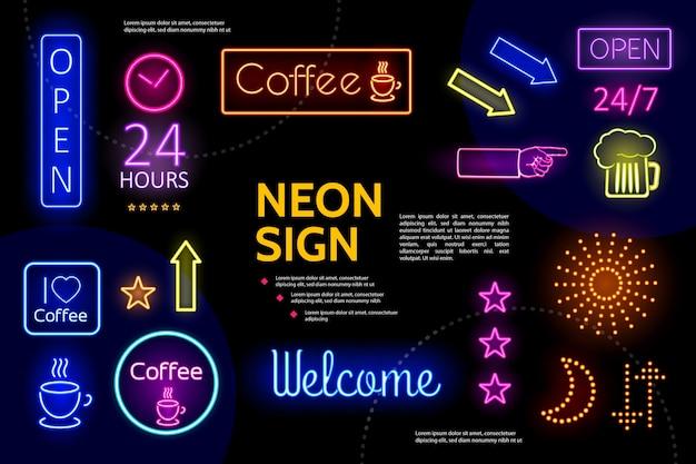 Композиция световых рекламных неоновых вывесок Бесплатные векторы