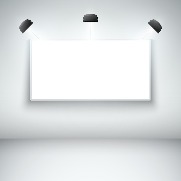 Illuminated blank gallery frame Free Vector