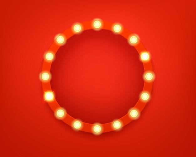 Illuminated circle frame. bright retro frame Premium Vector