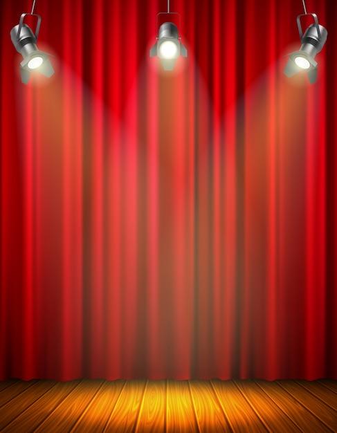 Освещенная пустая сцена с красным занавесом из светящегося материала деревянный пол висит прожектор векторная иллюстрация Бесплатные векторы