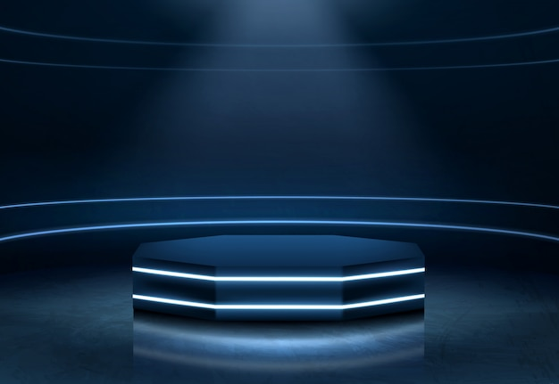 Illuminated fashion show podium realistic vector Free Vector