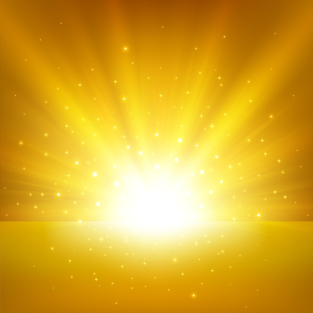 Illuminated gold light background Premium Vector