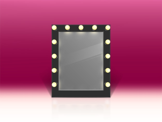 Illuminated Mirror For Makeup Isolated On Pink Background