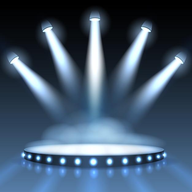 Освещенный подиум с прожекторами для презентации. шоу с прожектором, сцена или сценическая студия пуста. Бесплатные векторы