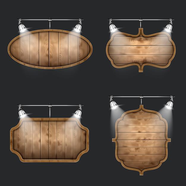 Illuminated set of wooden signboards. Premium Vector