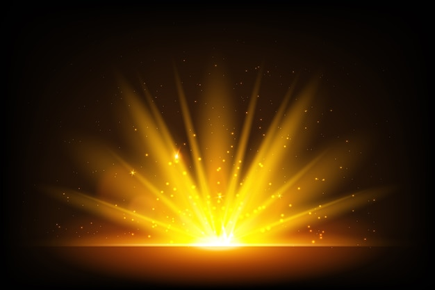 Illuminated sparkling sunrise effect Free Vector