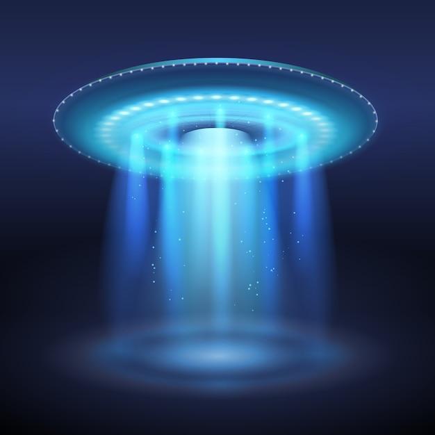Illuminated ufo space ship with blue light portal illustration Free Vector