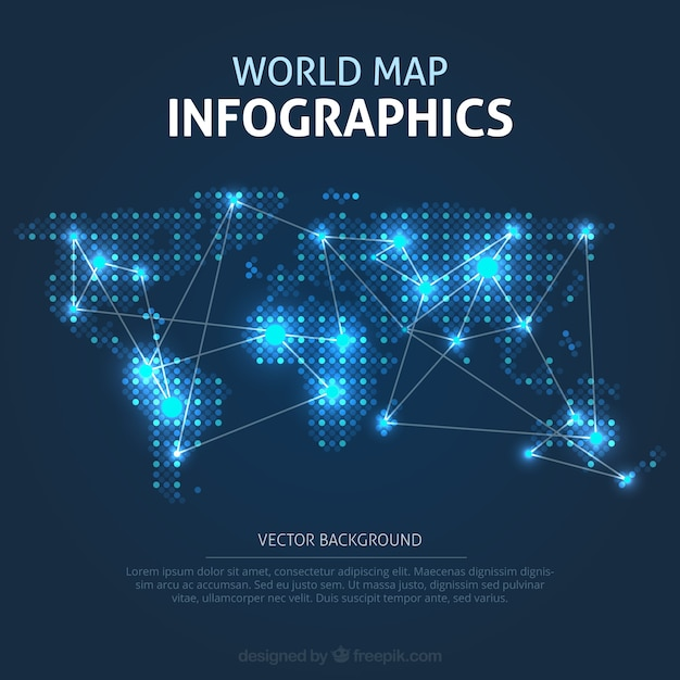Illuminated world map infographic Free Vector