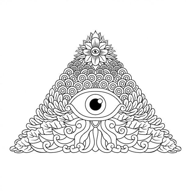 Illuminati hand drawing Premium Vector