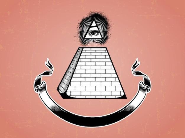 Illuminati Pyramid Eye And A Ribbon Vector Free Download