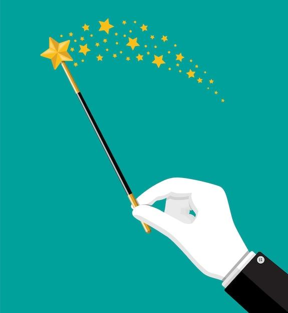 Иллюзионистская волшебная палочка с блеском. чудо-волшебная палочка инструмент стержень в руке. цирк, волшебное шоу, комедия. Premium векторы