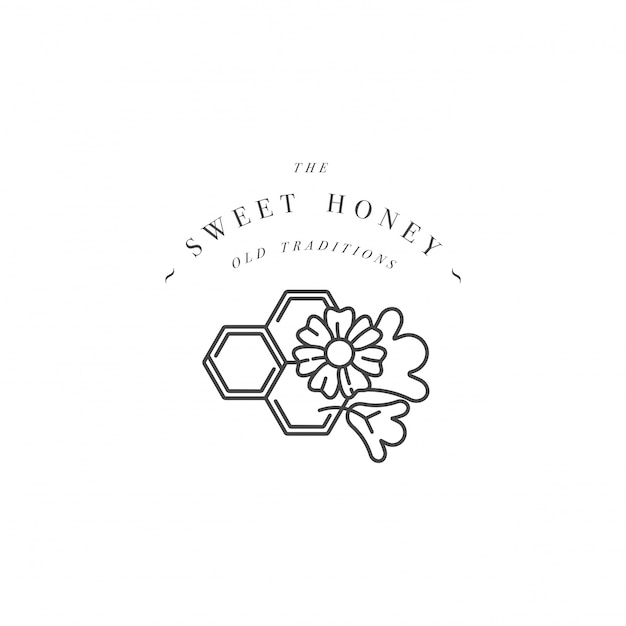Illustartion logo and  template or badge. organic and eco honey label- flowers with honeycomb. linear style. Premium Vector