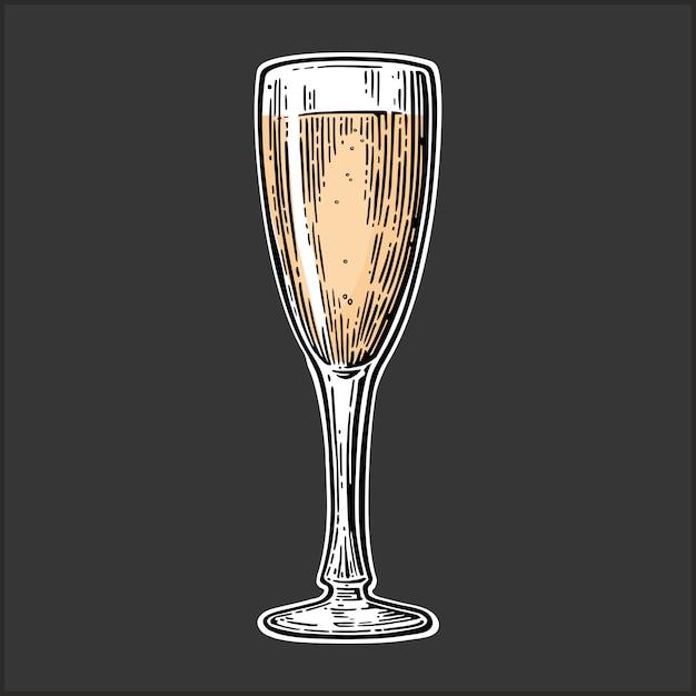 Бокал для шампанского марочные illustraiton Premium векторы