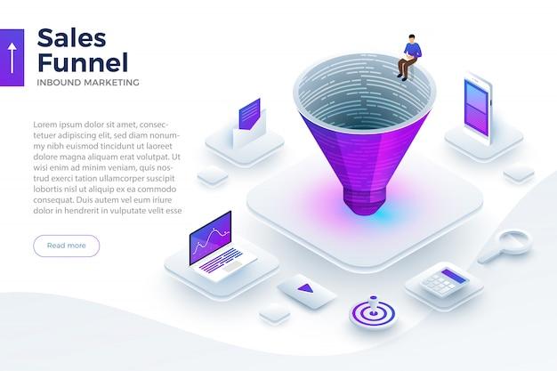 Illustrate inbound marketing Premium Vector