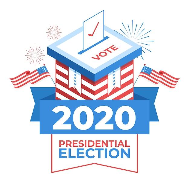 Иллюстрированная концепция президентских выборов в сша 2020 Premium векторы