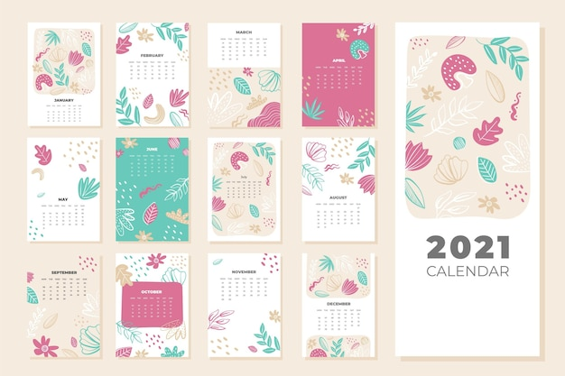 Иллюстрированный шаблон календаря на 2021 год Premium векторы