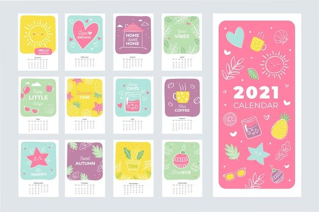 Illustrated 2021 calendar template Premium Vector