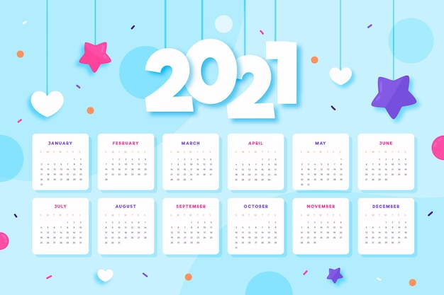 Illustrated 2021 calendar template Free Vector