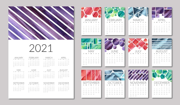 Иллюстрированный шаблон календаря на 2021 год Бесплатные векторы