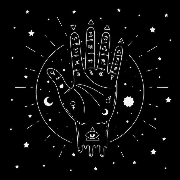 Illustrated abstract palmistry concept Free Vector