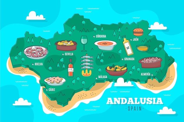 Mappa di andalusia illustrata con punti di riferimento Vettore gratuito