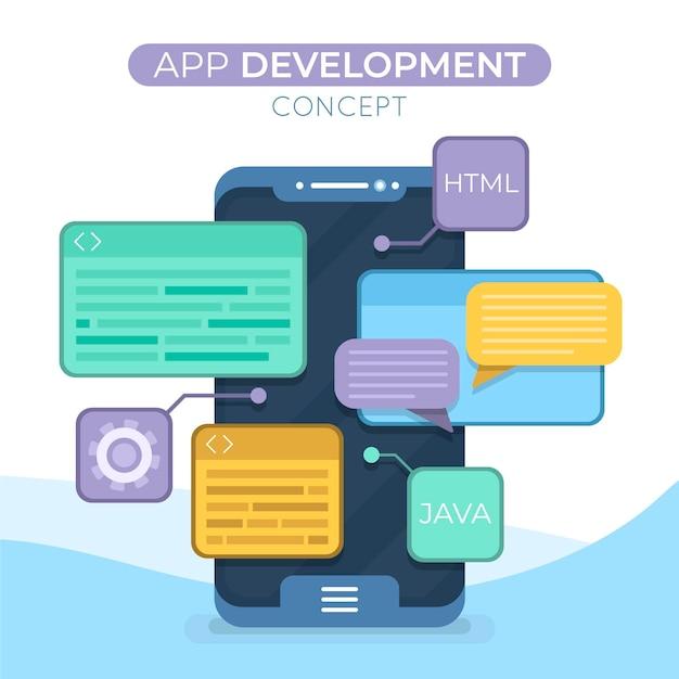 イラスト付きアプリ開発コンセプト Premiumベクター