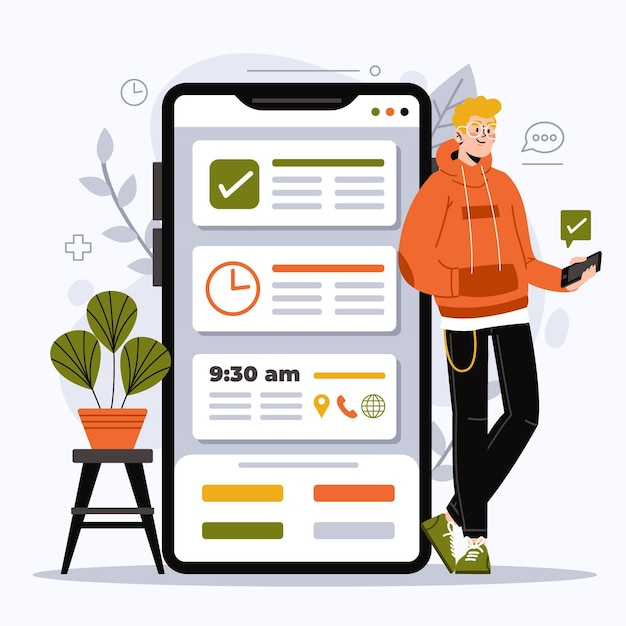 Illustrated appointment booking with smartphone Free Vector