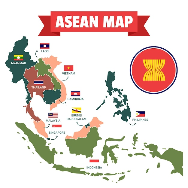 Illustrated asean map with flags Premium Vector