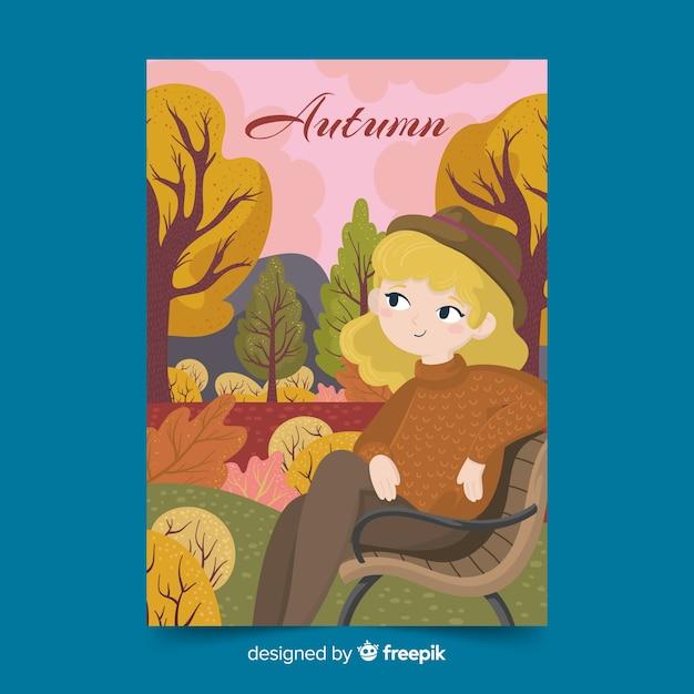 Illustrated autumn season poster Free Vector