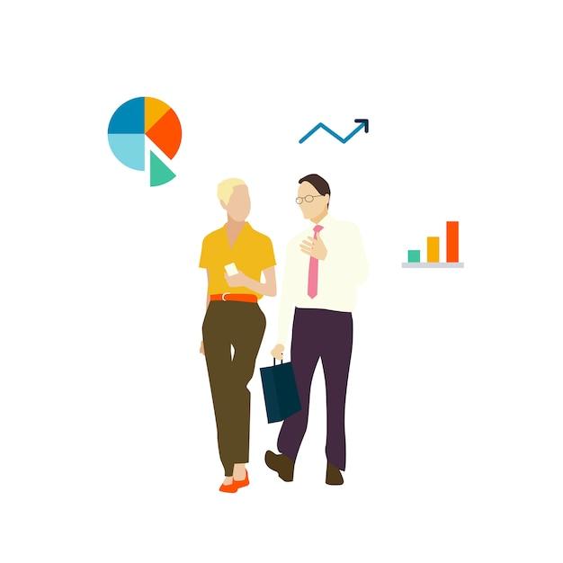 Illustrated avatar business people\ walking