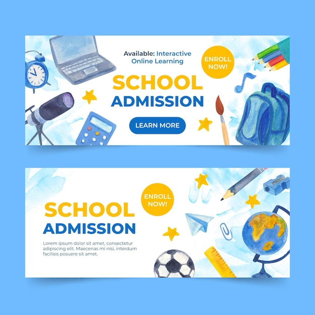 Illustrated back to school banners Free Vector