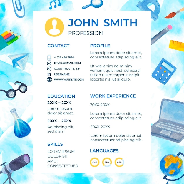 Illustrated back to school cv template Free Vector