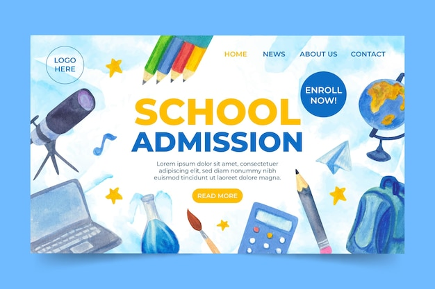 Illustrated back to school landing page template Free Vector