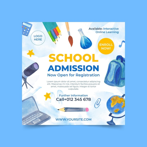 Illustrated back to school square flyer template Free Vector