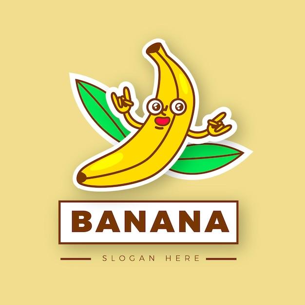 Illustrato il logo del personaggio di banana Vettore gratuito