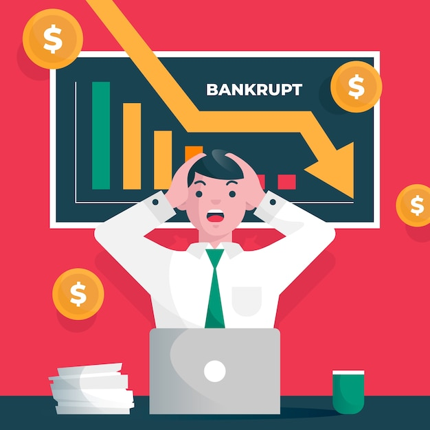 Illustrated bankruptcy concept Free Vector