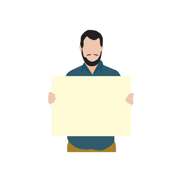 Illustrated bearded man holdin blank paper Free Vector
