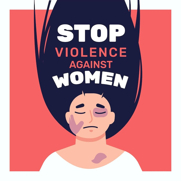Illustrated beaten woman with stop violence against women text Free Vector
