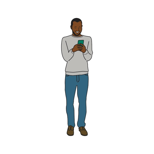 Illustrated black man using mobile phone Free Vector