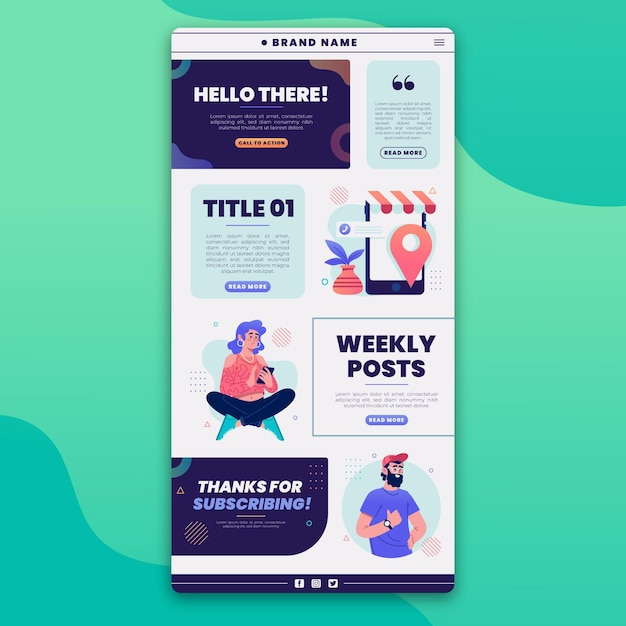 Illustrated blogger email template Free Vector