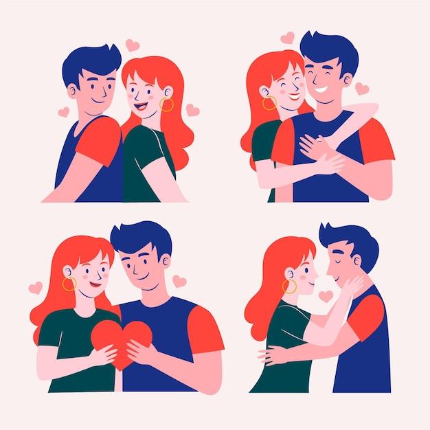 Иллюстрированная коллекция парней и девушек Бесплатные векторы