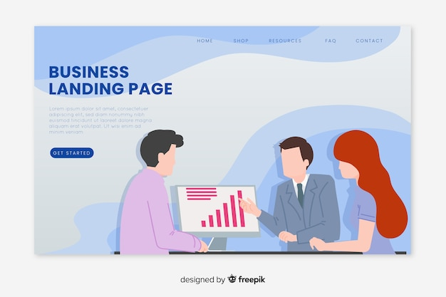 Illustrated business landing page Free Vector