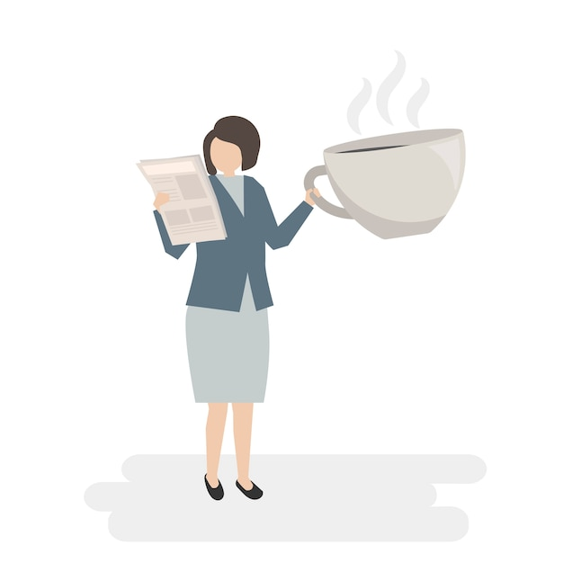 Illustrated businesswoman with coffee Free Vector